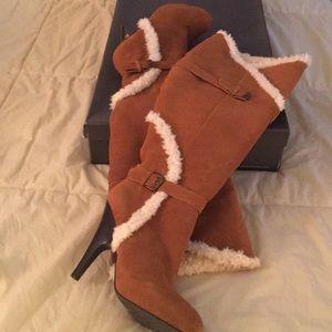 "Halston tan suede boots!  ""Sophia"" size 8"